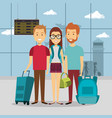 group of travelers in the airport vector image