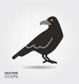 halloween raven flat silhouette icon with shadow vector image vector image