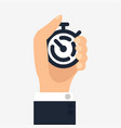 hand push on stopwatch vector image vector image