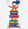 happy girl jumping over stack of books vector image vector image