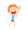 happy smiling cartoon redhead boy playing with a vector image vector image