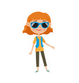 hipster in stylish clothes cartoon vector image vector image