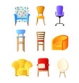 home furniture flat set with chairs armchairs vector image vector image