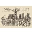 Hong Kong big city architecture hand drawn sketch vector image