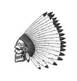 indian chief skull native american in feather hat vector image vector image