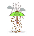 isolated cartoon investment umbrella vector image vector image
