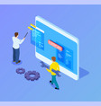 isometric web developers programmers working vector image