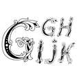 Letters G H I J and K in retro floral style vector image vector image