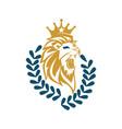 lion head crown leaf logo design symbol isolated vector image