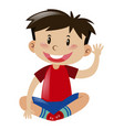 little boy in red shirt waving hand vector image vector image