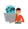 man with desktop computer and planet earth vector image vector image