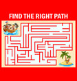 maze game find a pirates boys group way to treasur vector image