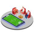 men with beer watch football online isometric vector image vector image