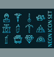 mining set icons blue glowing neon style vector image vector image
