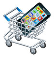 mobile phone shopping cart vector image vector image