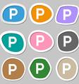 parking icon symbols Multicolored paper stickers vector image