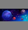 planets in outer space with satellites and meteors vector image vector image