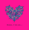 polygon heart icon on plastic pink love banner vector image vector image