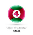 realistic number four symbol in colorful circle vector image vector image