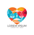 scales of justice and book logo design vector image vector image