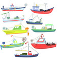 sea fishing vessels and boats sea ships for vector image vector image