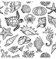 seamless pattern with sketch sea ocean life vector image vector image