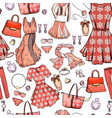 seamless pattern with woman dresses underwear vector image
