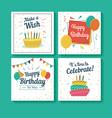 set birthday greeting cards vector image
