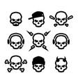 set skulls logo symbol sign vector image vector image