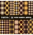 Set Tartan Seamless Pattern in golden and yellow vector image vector image