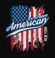 t-shirt graphic design with american flag vector image