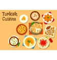 Turkish cuisine national dishes for menu design vector image vector image