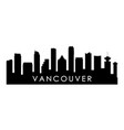 vancouver canada skyline silhouette vector image vector image