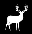white silhouette of reindeer with big horns on vector image vector image
