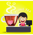 Woman working on computer and big tea cup vector image