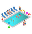 isometric family enjoying summer vacation in vector image