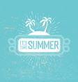 summer time retro postcard rope frame palms and vector image