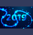 2019 blue text design low poly wireframe art on vector image vector image