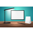 3d desk lamp on wooden table lights up empty vector image