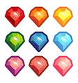 a set of colored crystals with a contour vector image vector image