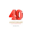anniversary 40 red 3d numbers vector image