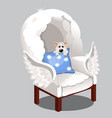 armchair of clouds isolated on grey background vector image