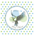 baby shower cute bird frame over green and blue vector image vector image