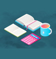 book and stationery supplies for study and teacup vector image