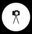 camera on tripod simple black and green icon eps10 vector image vector image