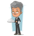 Cartoon grizzle waiter with tray vector image vector image