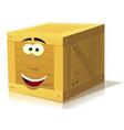 cartoon wood box character vector image vector image