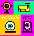 cctv notice set video surveillance vector image vector image