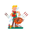 cheerful man cooking steak on barbecue grill vector image