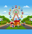 children cartoons play in front of the amusement vector image vector image